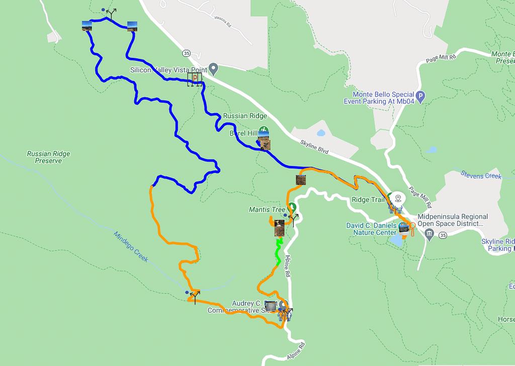 Peninsula hike: Russian Ridge Preserve hike map