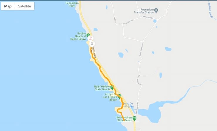Pebble Beach backpacking on the map