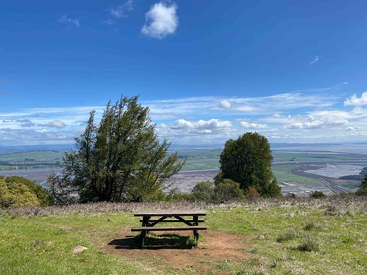 picnic table with a beautiful view on Olompali State Park